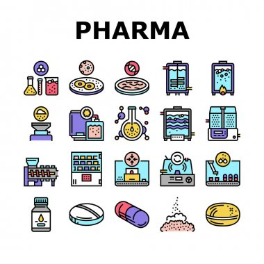 Pharmaceutical Production Factory Icons Set Vector. Laboratory Manufacturing Pharmaceutical Product, Tablet Drug And Capsule, Powder And Pills Concept Linear Pictograms. Contour Illustrations icon