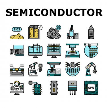 Semiconductor Manufacturing Plant Icons Set Vector. Installation Semiconductor On Board And Testing, Test Computer Screen And Digital Equipment Concept Linear Pictograms. Contour Illustrations icon