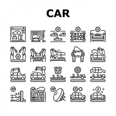 Car Factory Production Collection Icons Set Vector. Car Factory Equipment And Conveyor For Welding Parts And Installing Details, Crash And Airbag Test Black Contour Illustrations icon