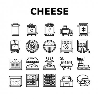 Cheese Production Collection Icons Set Vector. Cheese Preparing Factory Industrial Equipment And Refrigerator, Heating And Cheesemaking Machine Black Contour Illustrations icon