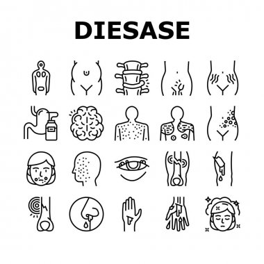 Disease Health Problem Collection Icons Set Vector. Open And Closed Limb Fracture, Nose And Arterial Bleeding, Herpes And Acne Disease Black Contour Illustrations icon