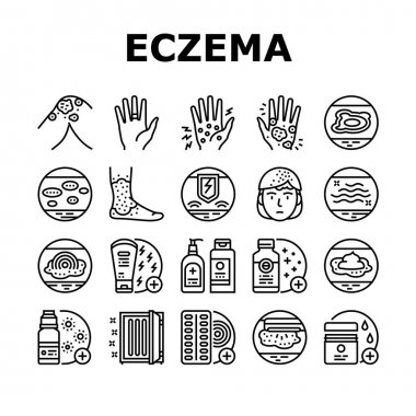 Eczema Disease Treat Collection Icons Set Vector. Nummular And Neurodermatitis Eczema Treatment, Dry Skin And Pain, Contact And Atopic Dermatitis. Black Contour Illustrations icon