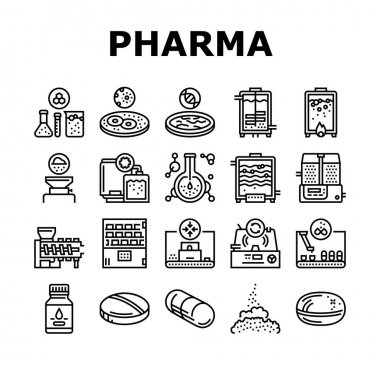 Pharmaceutical Production Factory Icons Set Vector. Laboratory Manufacturing Pharmaceutical Product, Tablet Drug And Capsule, Powder And Pills Black Contour Illustrations icon