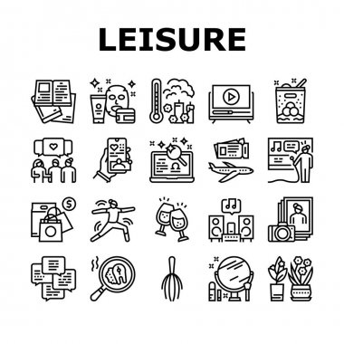 Womens Leisure Time Collection Icons Set Vector. Karaoke And Yoga, Massage And Spa, Reading Books And Listening Music, Shopping And Journey Leisure Black Contour Illustrations icon