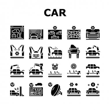 Car Factory Production Collection Icons Set Vector. Car Factory Equipment And Conveyor For Welding Parts And Installing Details, Crash And Airbag Test Glyph Pictograms Black Illustrations icon
