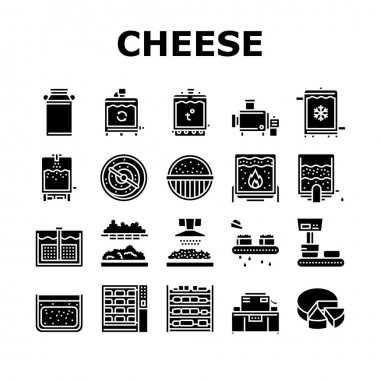 Cheese Production Collection Icons Set Vector. Cheese Preparing Factory Industrial Equipment And Refrigerator, Heating And Cheesemaking Machine Glyph Pictograms Black Illustrations icon