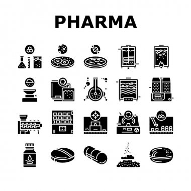 Pharmaceutical Production Factory Icons Set Vector. Laboratory Manufacturing Pharmaceutical Product, Tablet Drug And Capsule, Powder And Pills Glyph Pictograms Black Illustrations icon