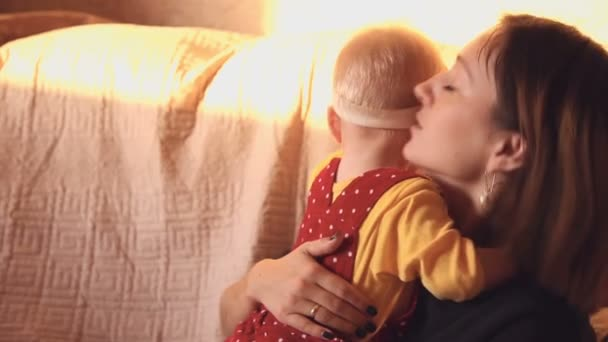Mother hugs her child