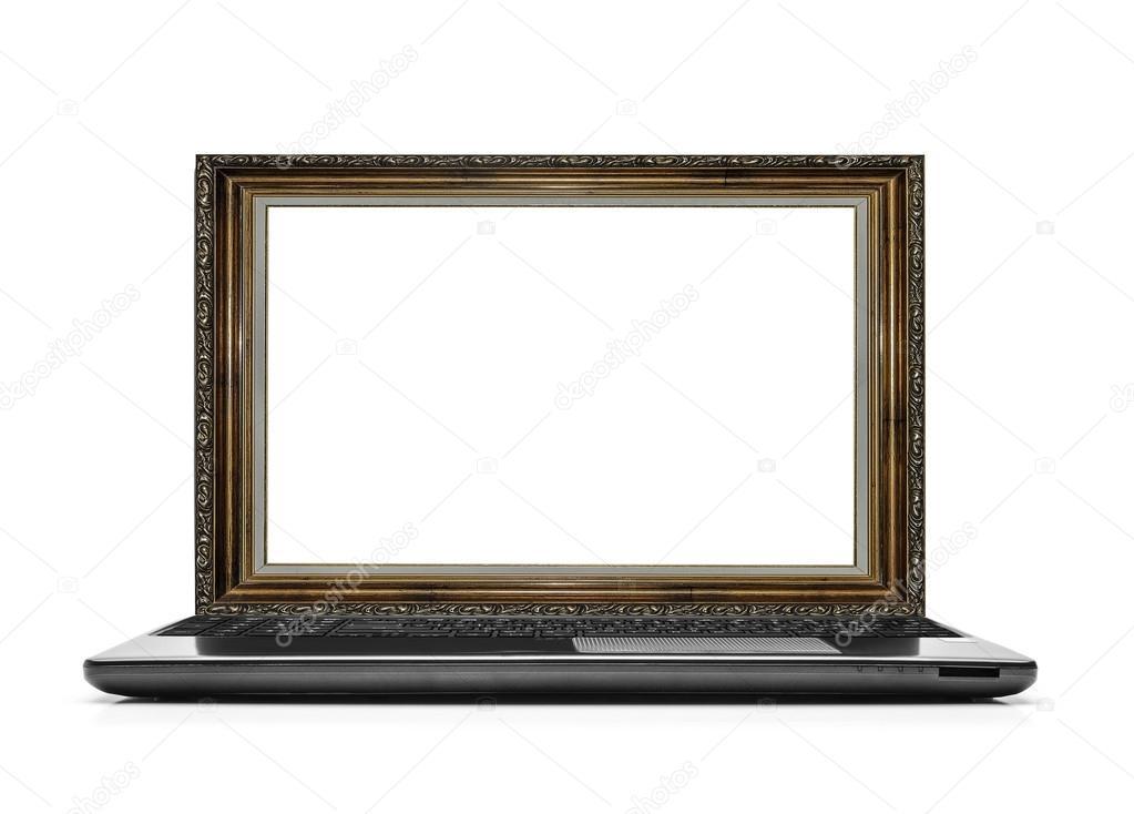 Ordenador portátil con un marco para la foto en vez del monitor ...