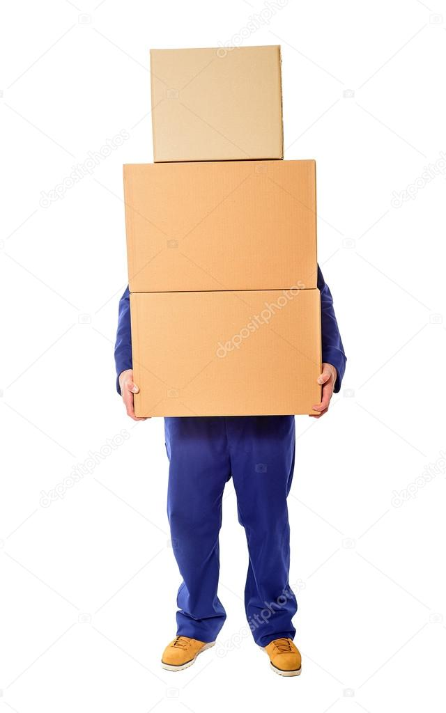 man with stacked boxes stock photo believeinme 68884087