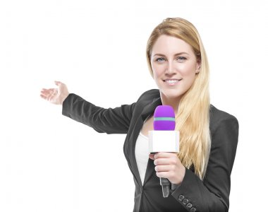 Attractive blonde TV presenter holding a microphone and points to an object. Isolated on white background. stock vector