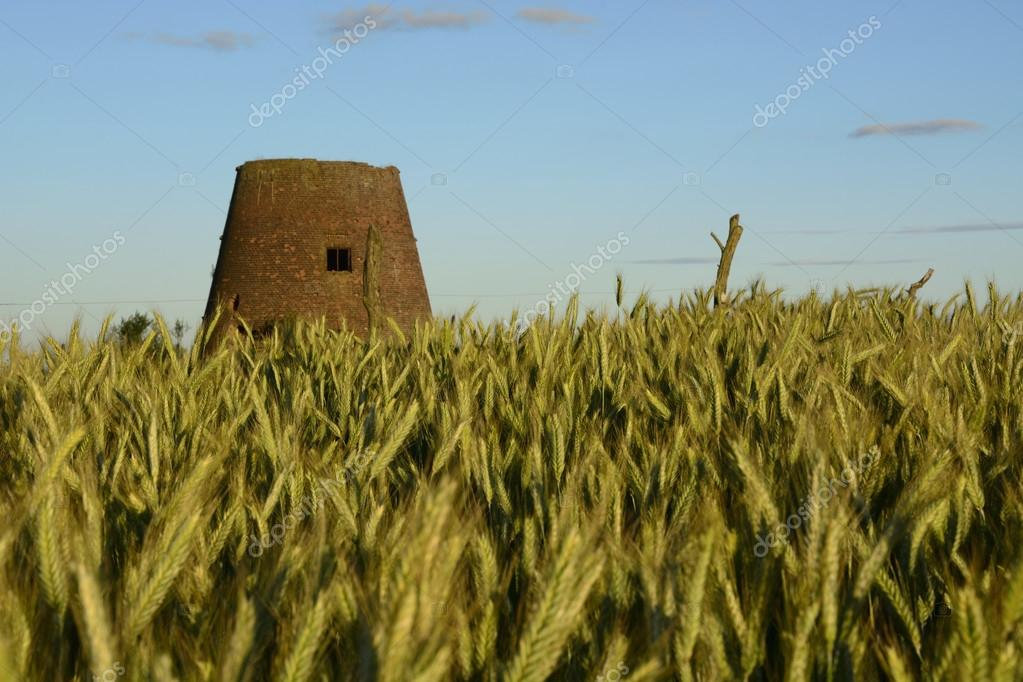 Outside the city - rural landscape - an old windmill on the fiel