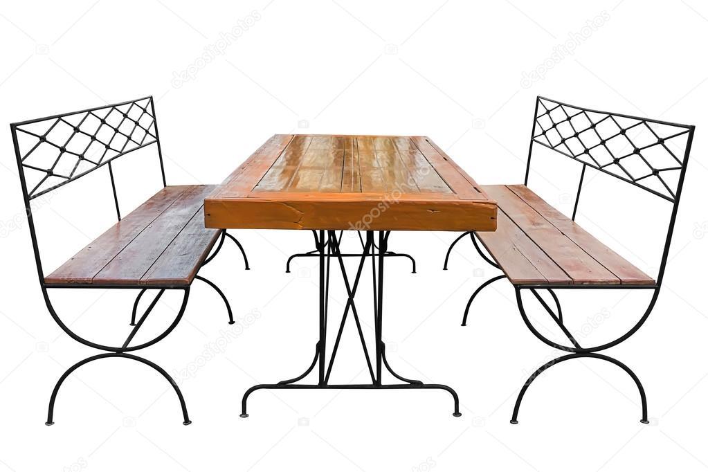 обеденный стол и скамейки стоковое фото Nuwatphoto