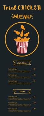 Fried chicken meat. Flame menu background. Fire Flame on black background. Fast food menu design elements. Restaurant cafe menu, template design. Food flyer. Vector. icon
