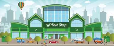 Vector illustration of shopping center in the city