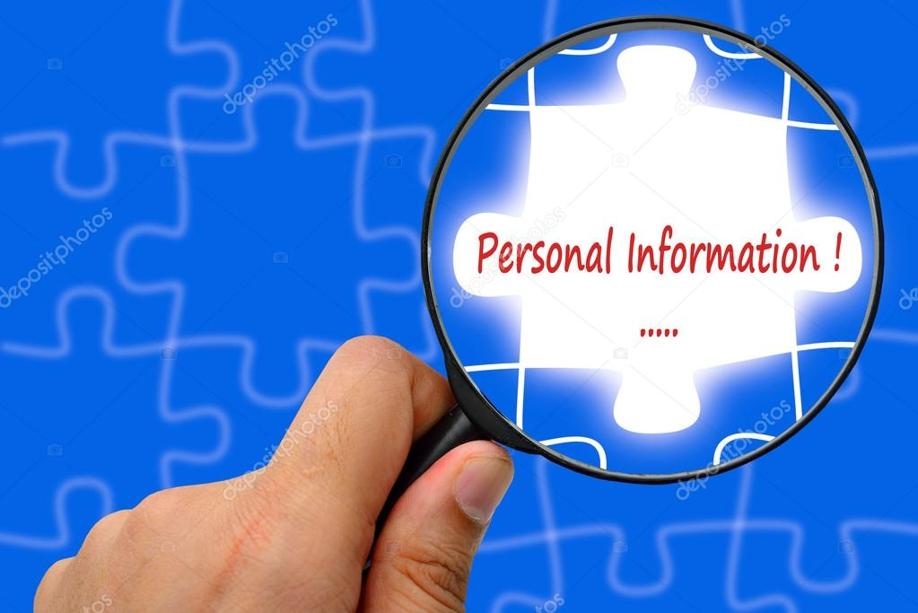 personal information word magnifier and puzzles stock photo