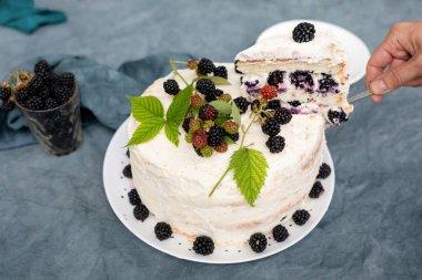 """Картина, постер, плакат, фотообои """"женские руки выкладывают кусок домашнего торта с ежевикой на блюдце"""", артикул 468264136"""
