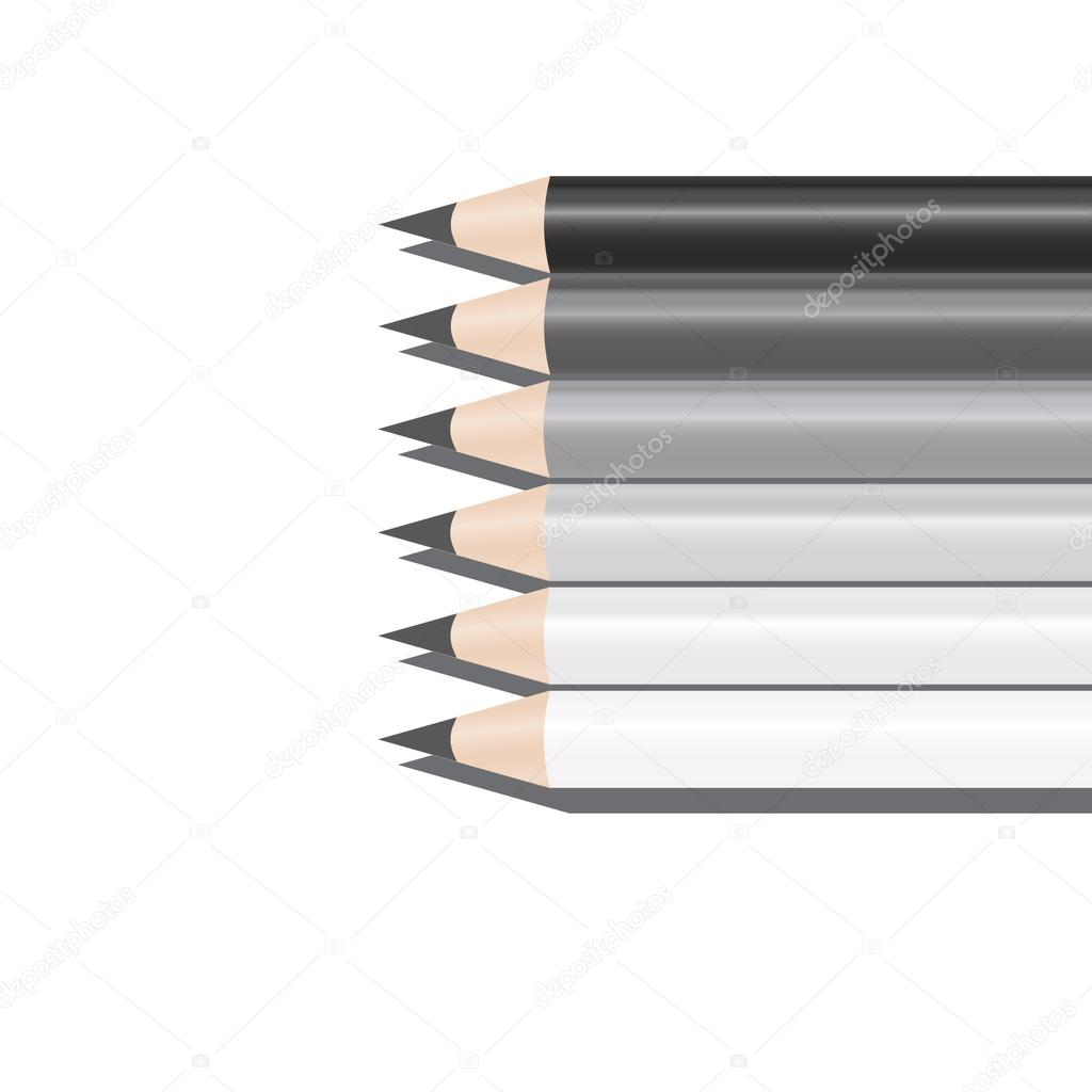 Six pencils of different shades of grey stock vector traid