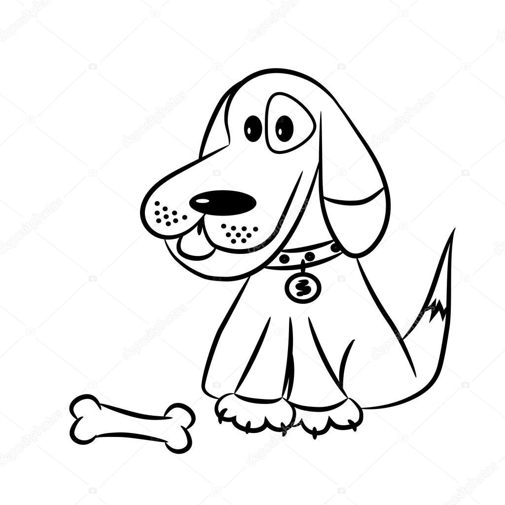 Blanco y negro de dibujos animados Vector ilustración del perro ...