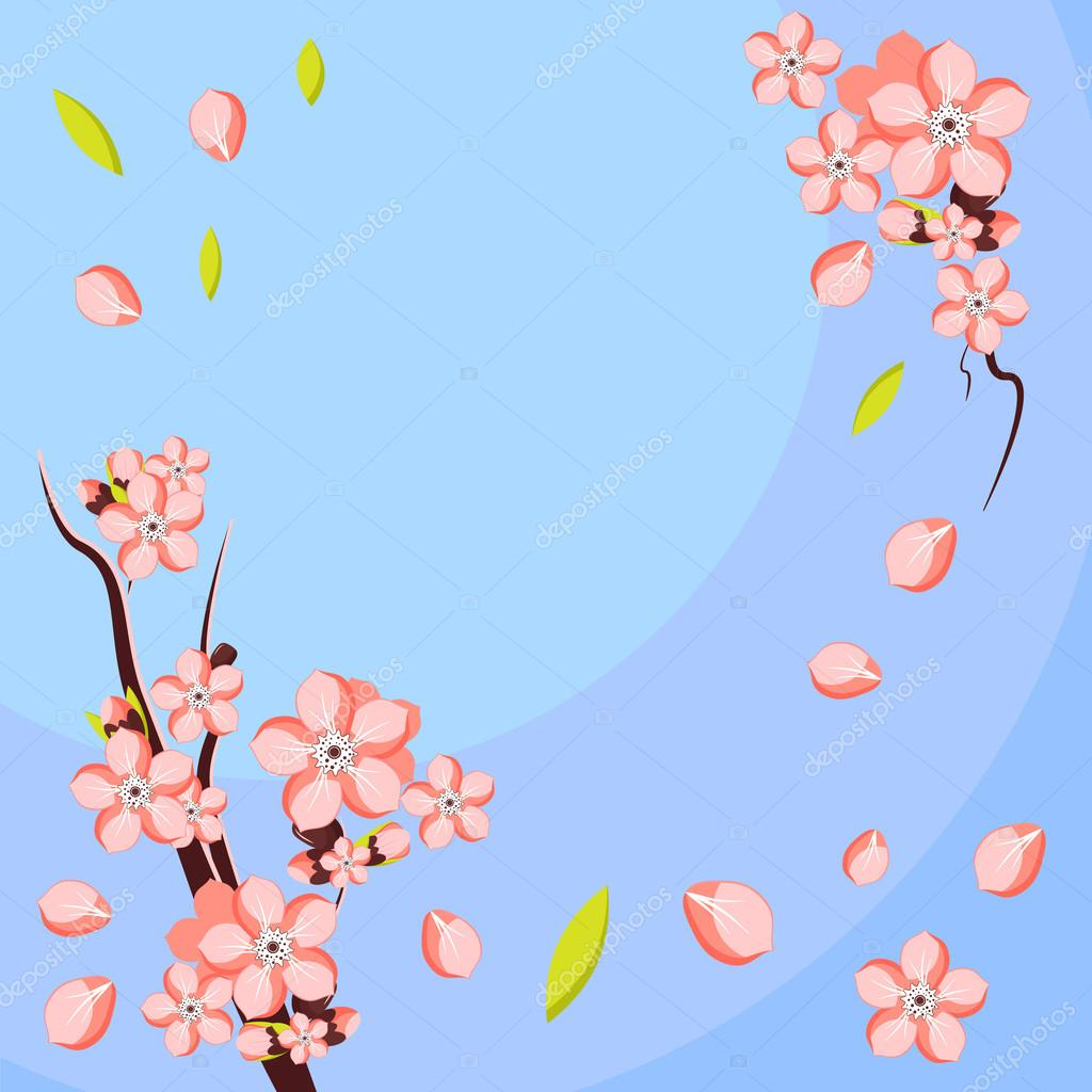 Almond or apricot flower branch. Template for greeting card and invitation
