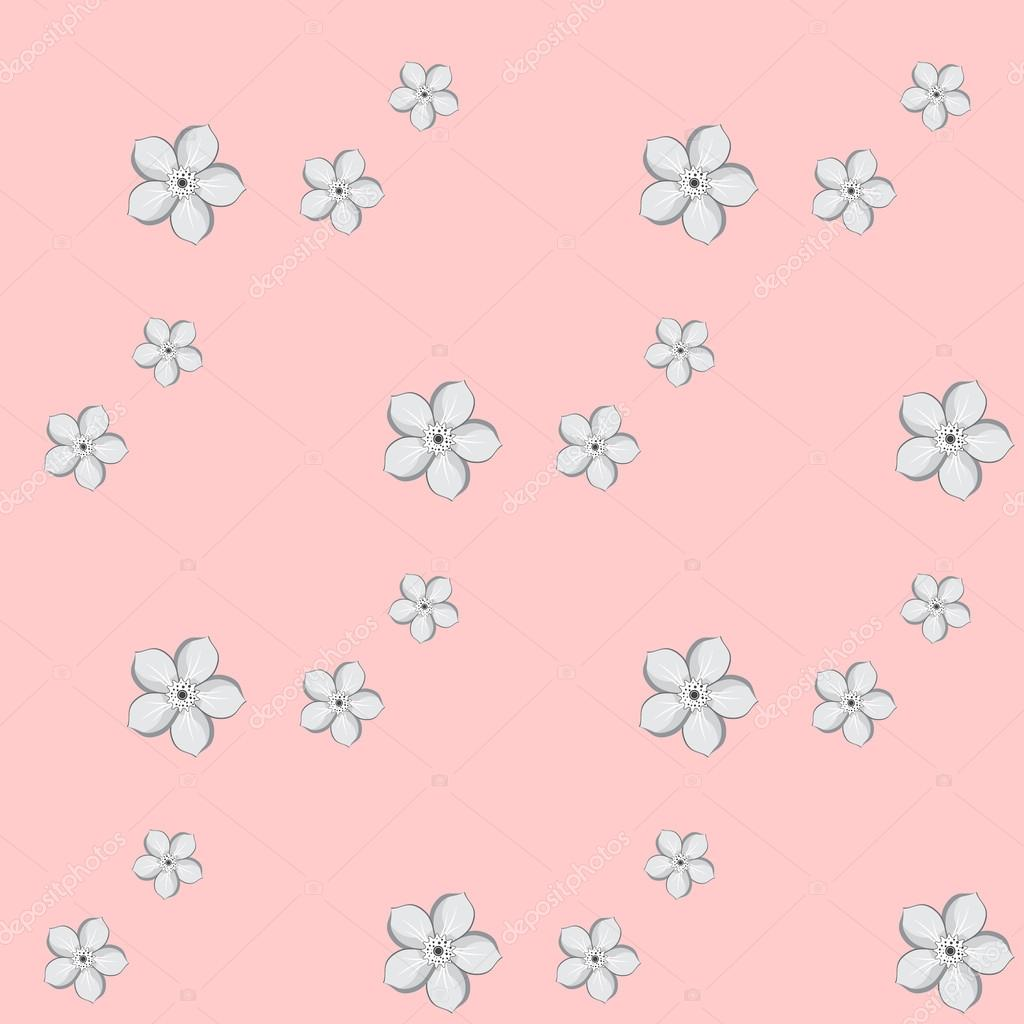 Seamless background with Almond or apricot flowers. Vector illustration