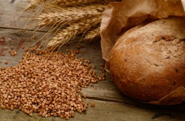 buckwheat bread on a wooden table. Country Still Life