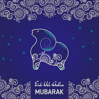 Greeting card template for Muslim Community Festival of sacrifice Eid-Ul-Adha with flat sheep