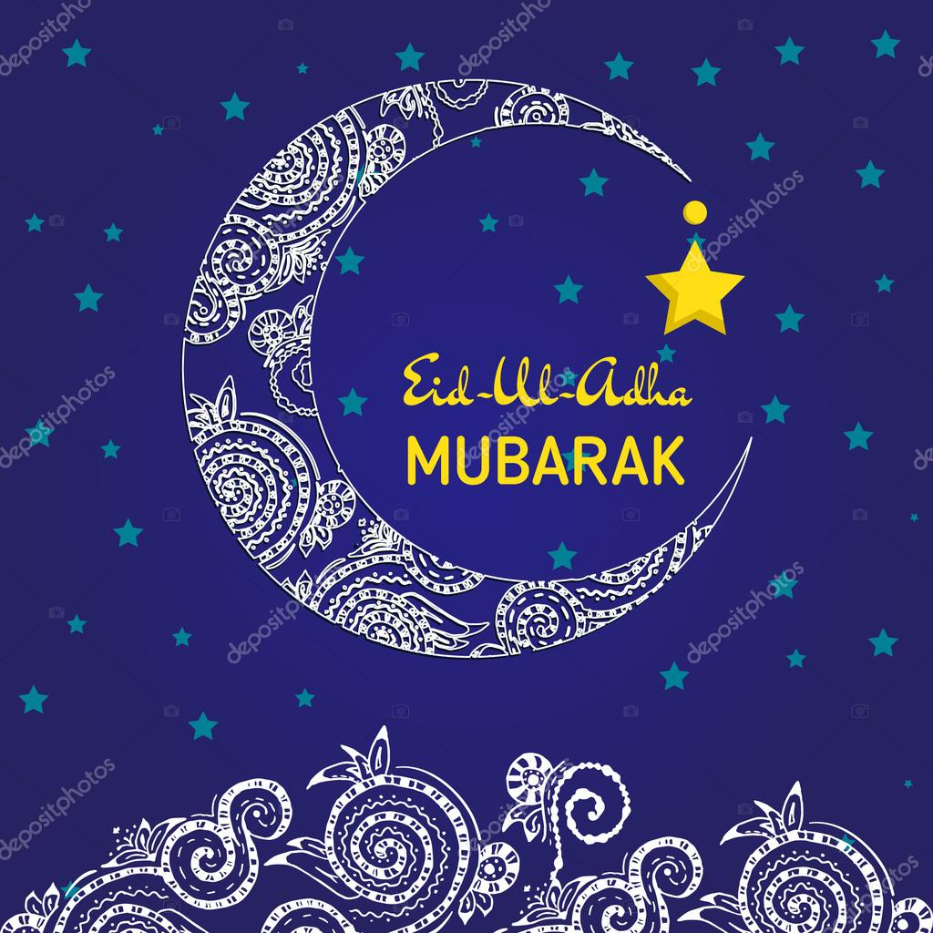 Great Festival Eid Al-Fitr Decorations - depositphotos_121973742-stock-illustration-crescent-moon-decorated-with-zentangle  HD_879100 .jpg