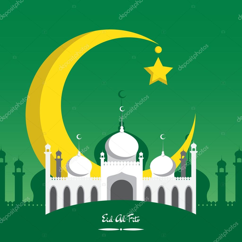 Popular Festival Eid Al-Fitr Decorations - depositphotos_75105929-stock-illustration-crescent-moon-with-white-mosque  Image_287457 .jpg