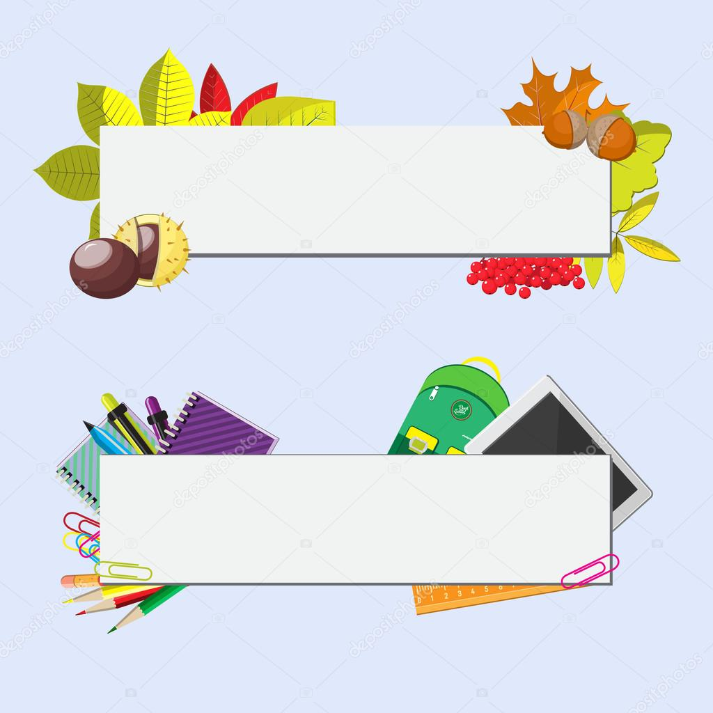 set of two banners with seasonal background, school supplies and autumn leaves. Seasonal flat vector illustration