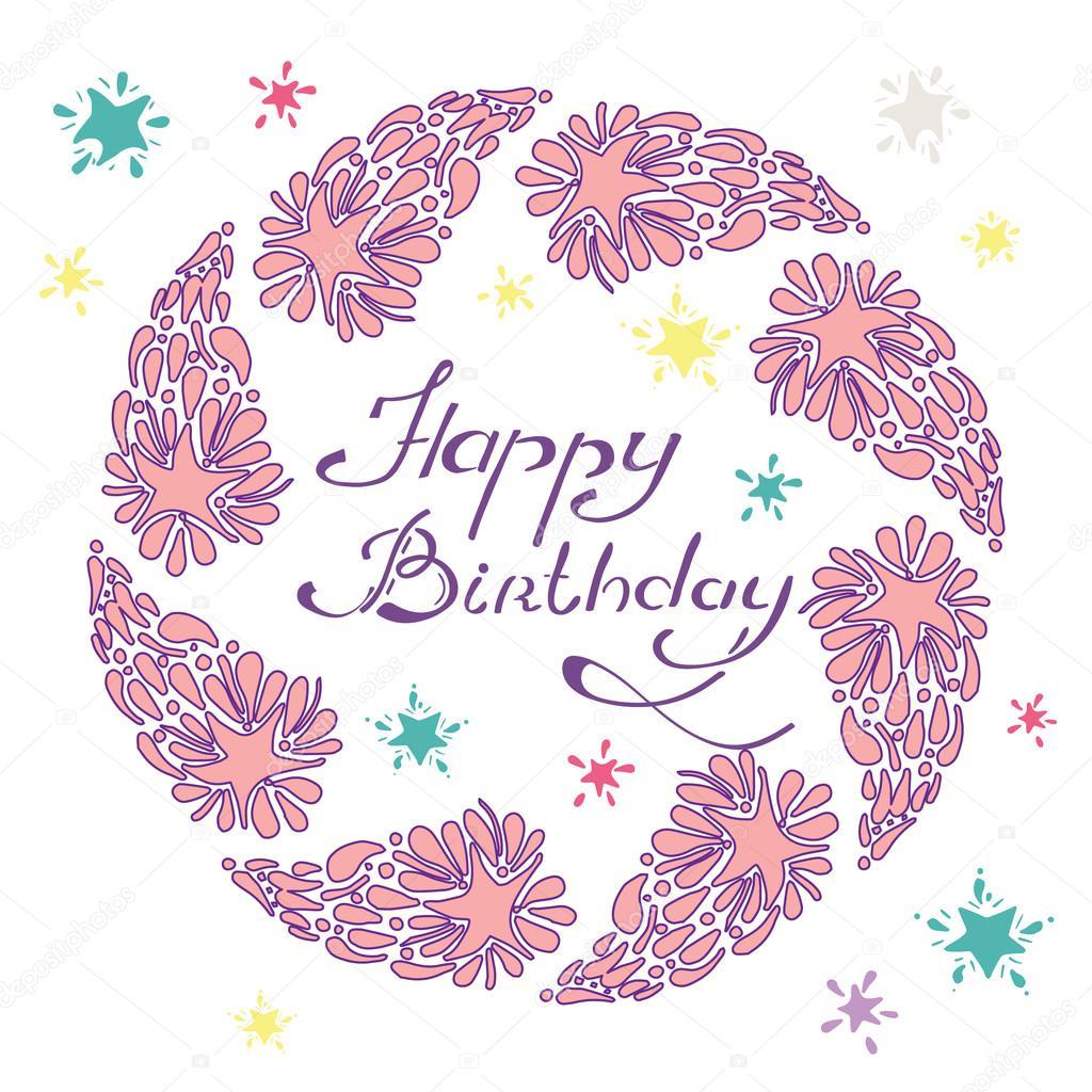 feliz cumpleaños letras en una mano dibujada con un cometa y ...
