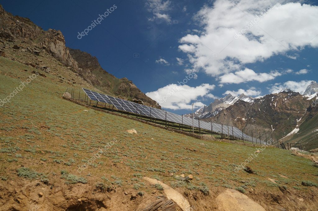 Solar cells on the hill in summer, Ladakh, India