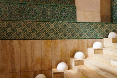 The interior corridors at the Hassan II Mosque in Casablanca, Morocco.