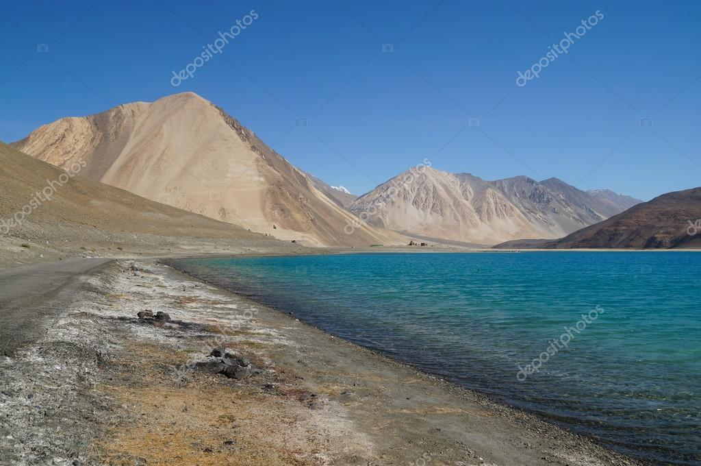 Pangong Lake in Ladakh, Jammu and Kashmir State, India.