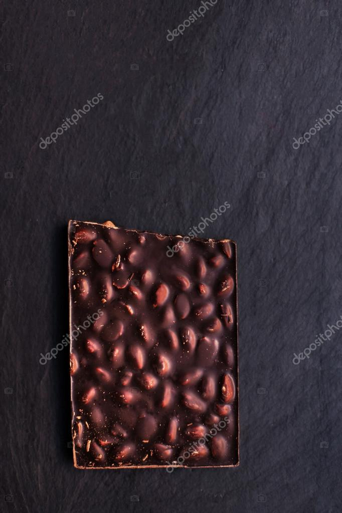 Beautiful Chocolate Bar Over Black Background With Copy Space F