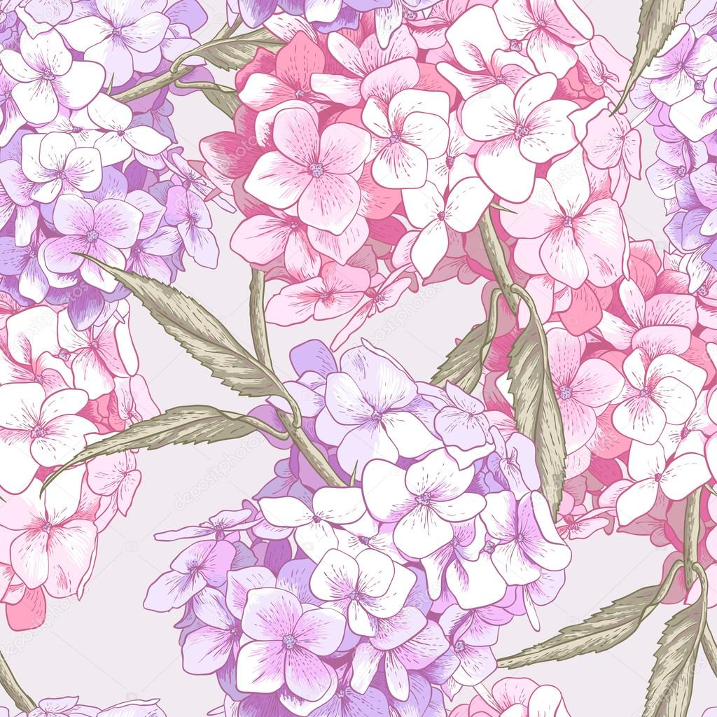 Beautiful Pink Hydrangea Seamless Background