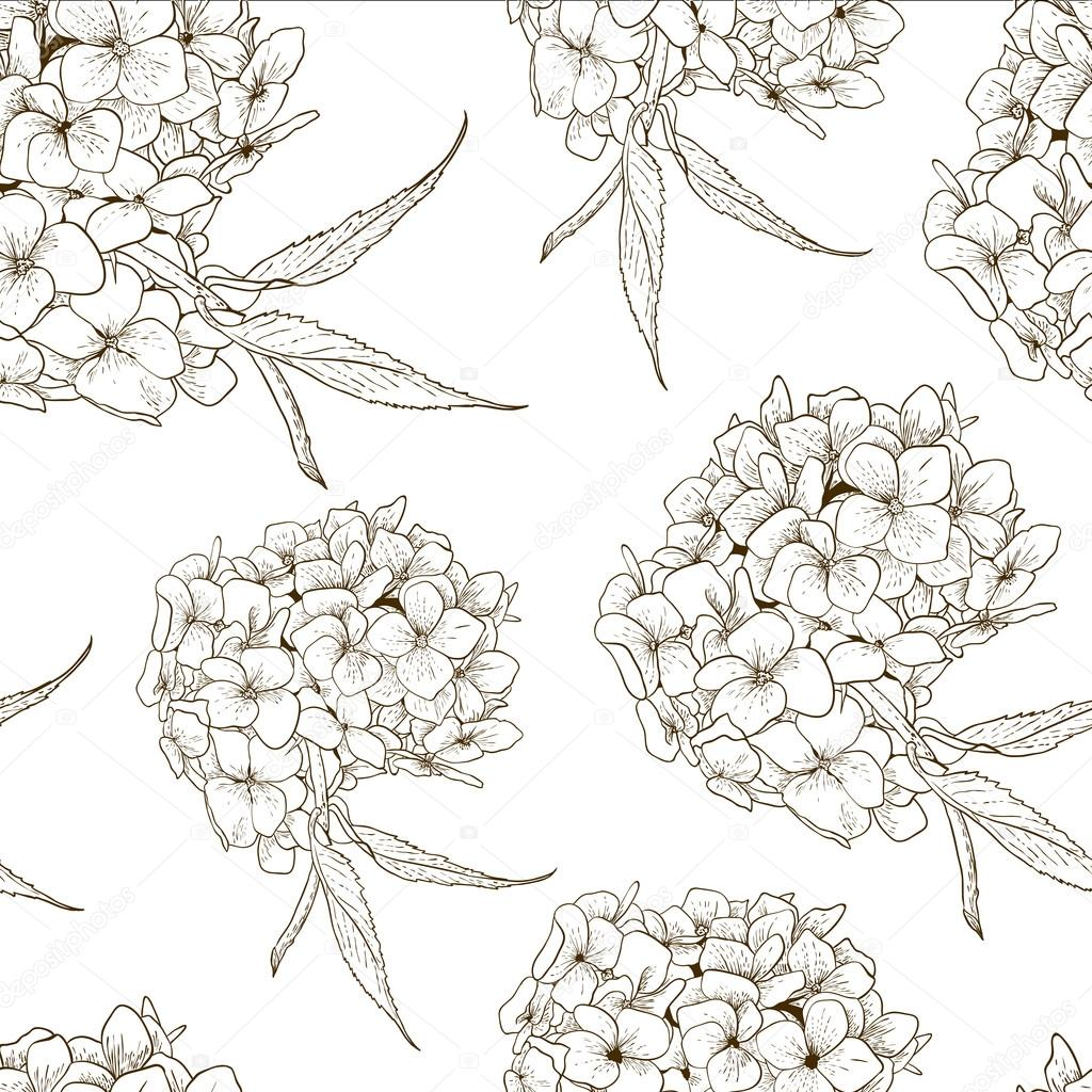 Monochrome Seamless Background with Hydrangea