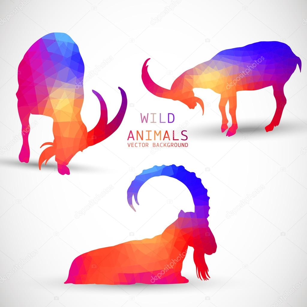 Geometric silhouettes of animals,  Goat, Ibexes,