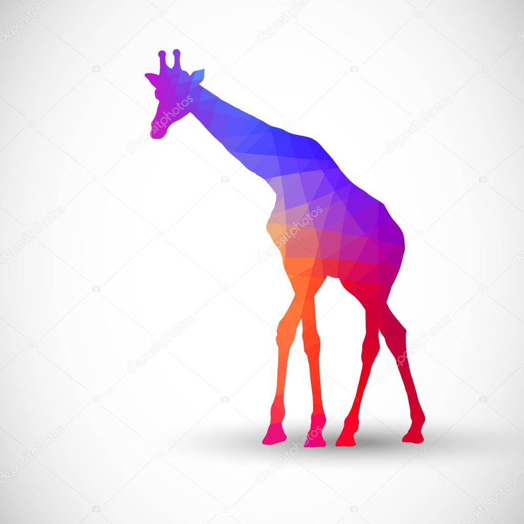 Geometric silhouettes animals Giraffe