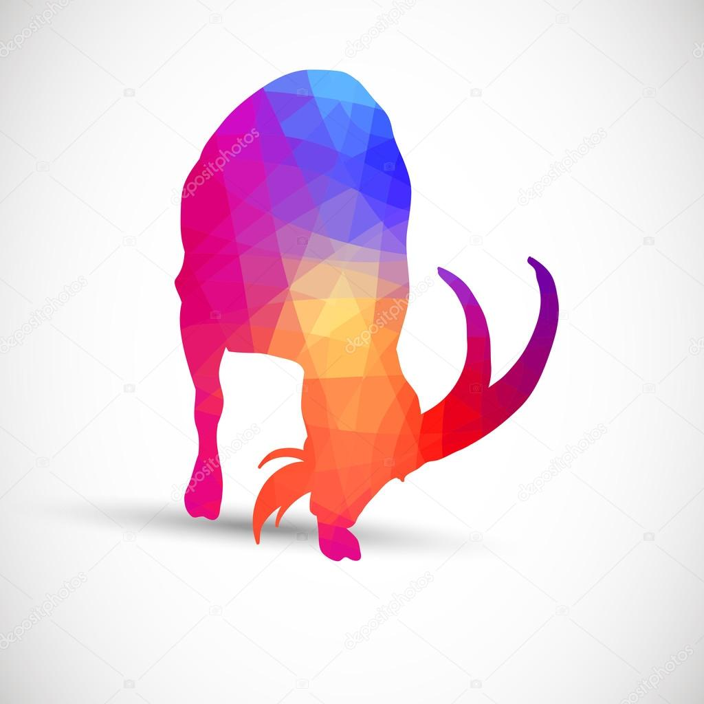 Geometric silhouettes animals Goat, Ibexes