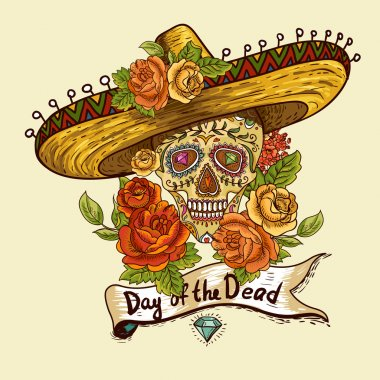 Floral Background with Skull in Sombrero