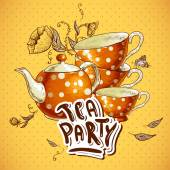 Tea party invitation card with a Cups and Pot