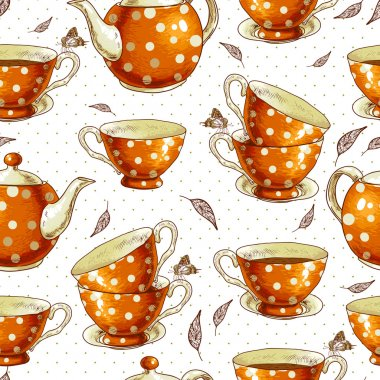 Seamless background with cups of tea and pots