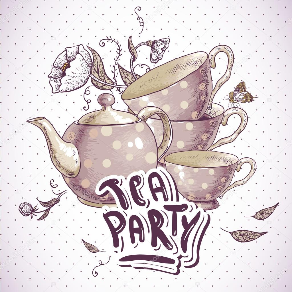 Tea Party Invitation Card With A Cups And Pot Stock Vector