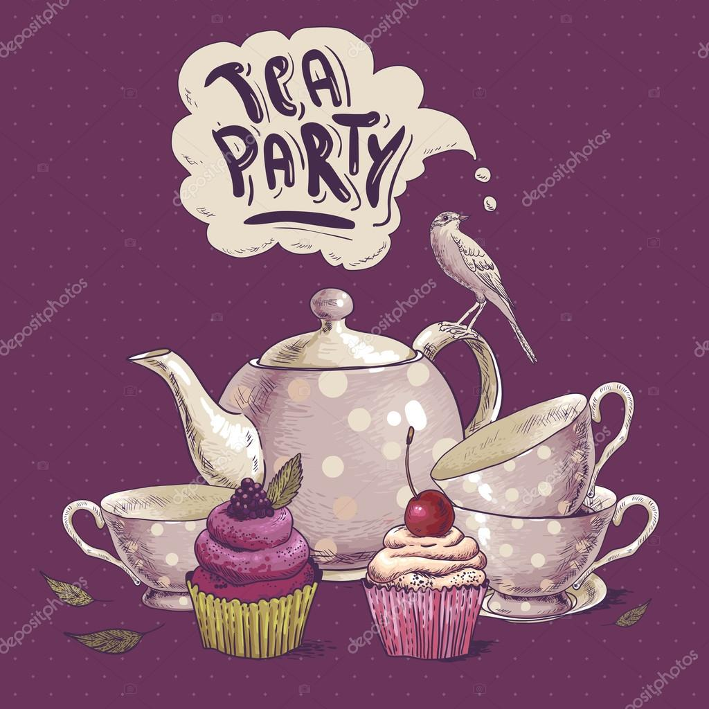 Tea Party Invitation Card With A Cupcake And Pot Stock Vector