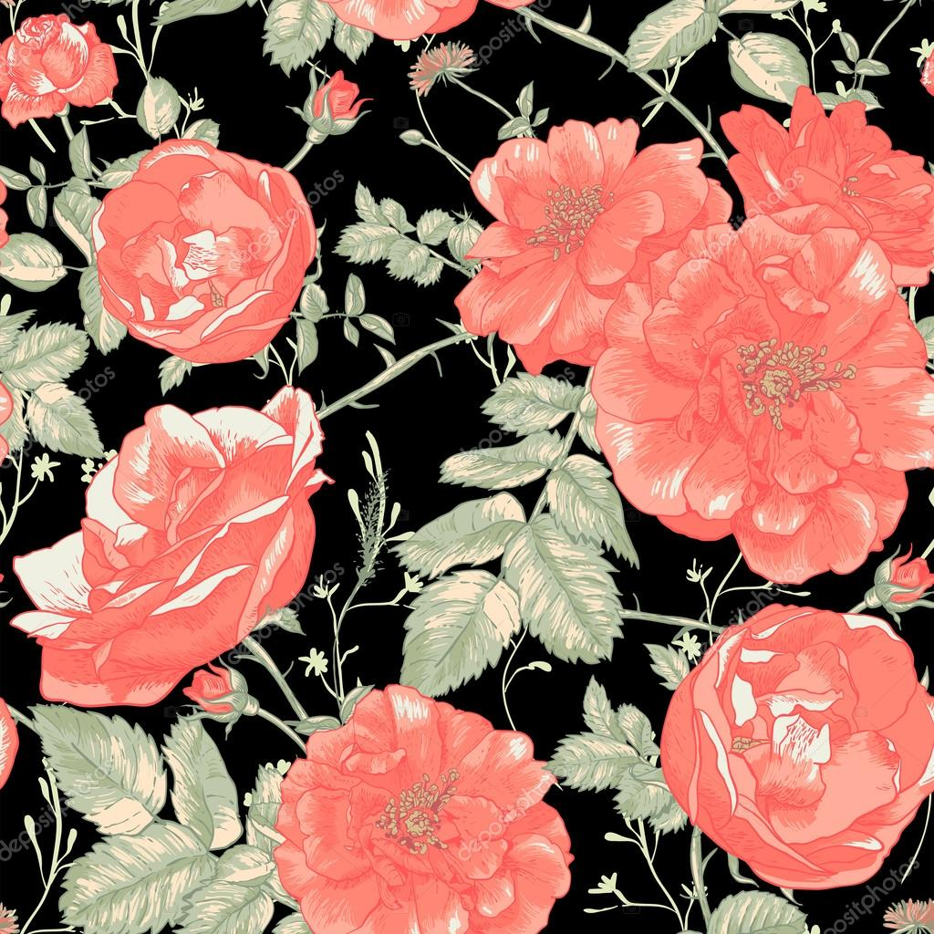 Vintage Seamless Romantic Roses Background