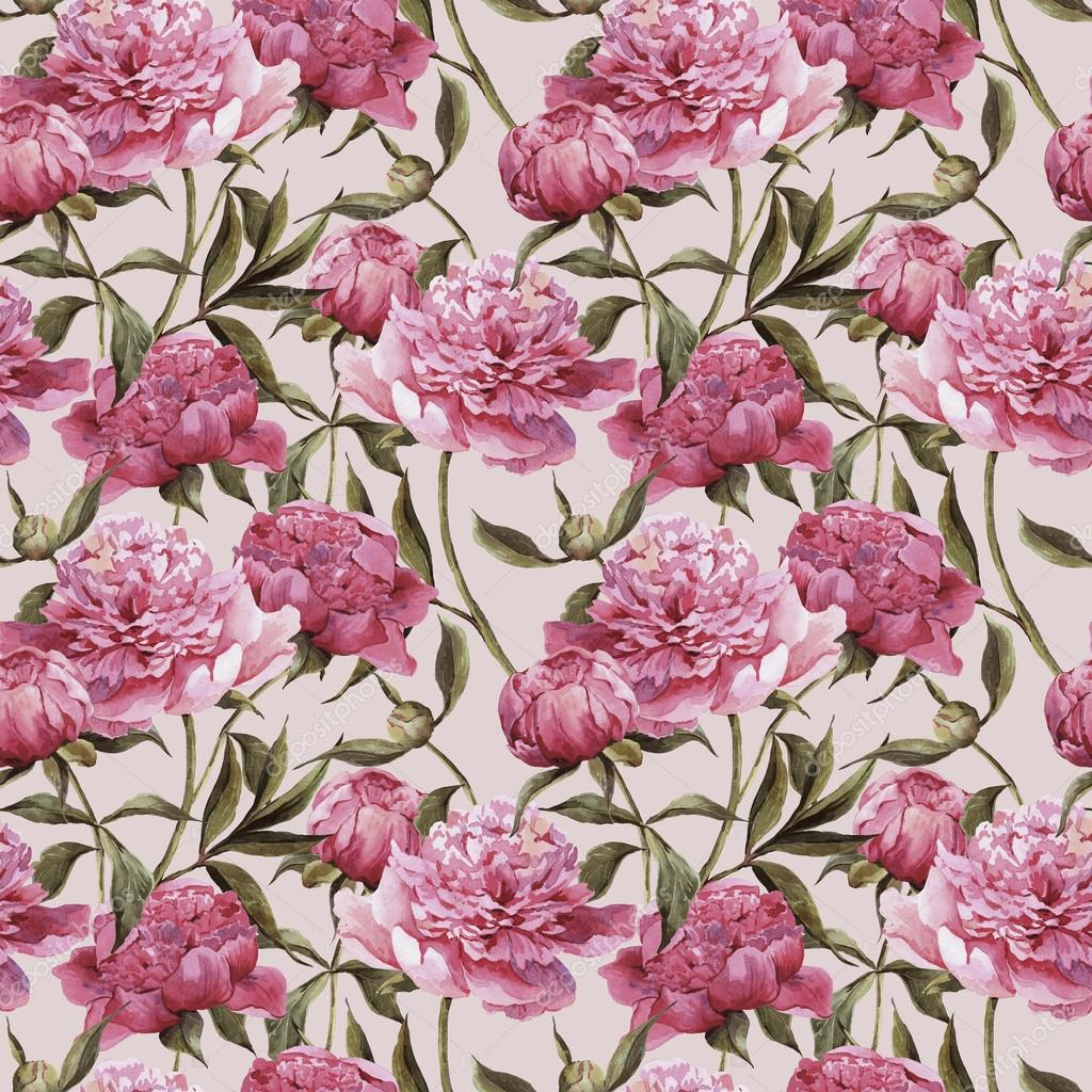 Seamless watercolor background with pink peonies