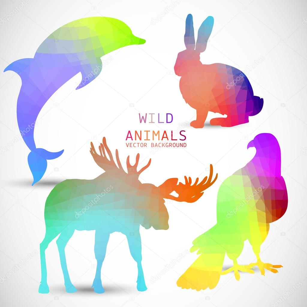 Geometric silhouettes of animals, dolphin, rabbit