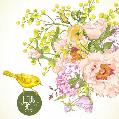 Spring Floral Bouquet with Birds, Greeting Card