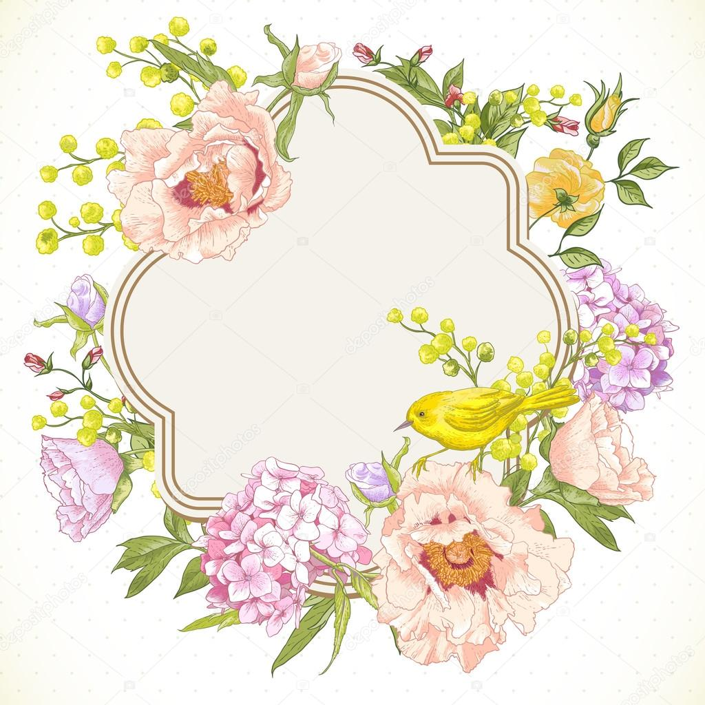 Spring Vintage Floral Bouquet With Birds Stock Vector